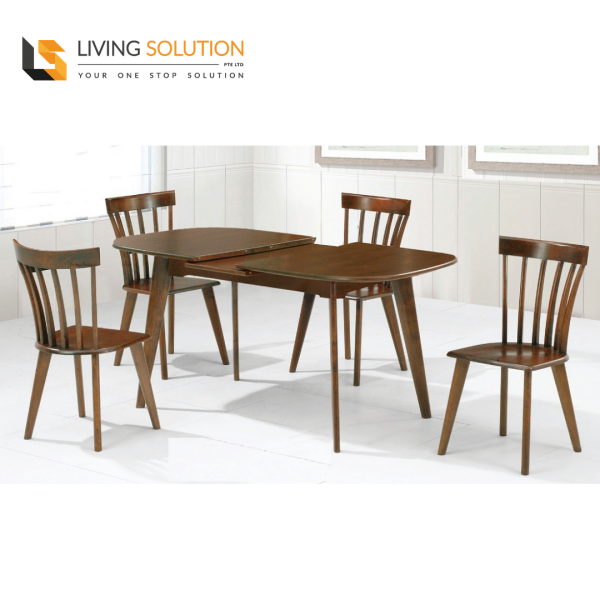 Gana 1+4 Solid Wood Extension Dining Table