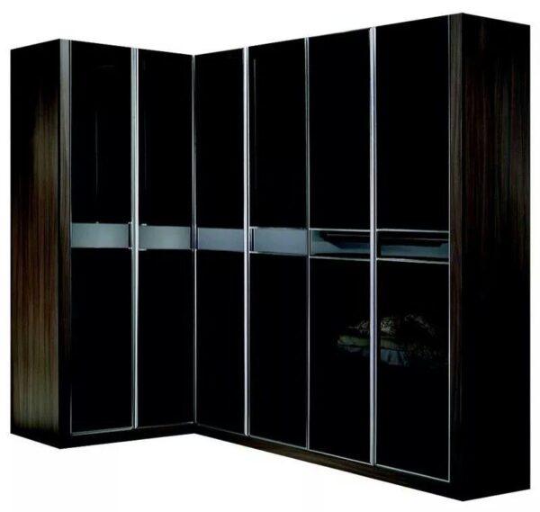 Customized Black Gloss 3 Door Wardrobe with Walnut
