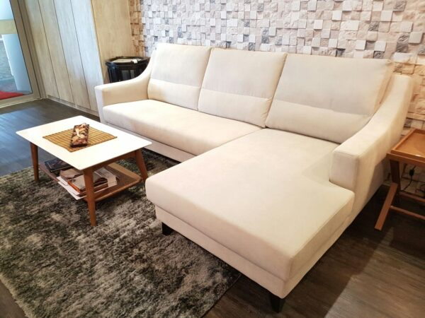 Ferne L Shape Belgium Acacia Fabric Sofa
