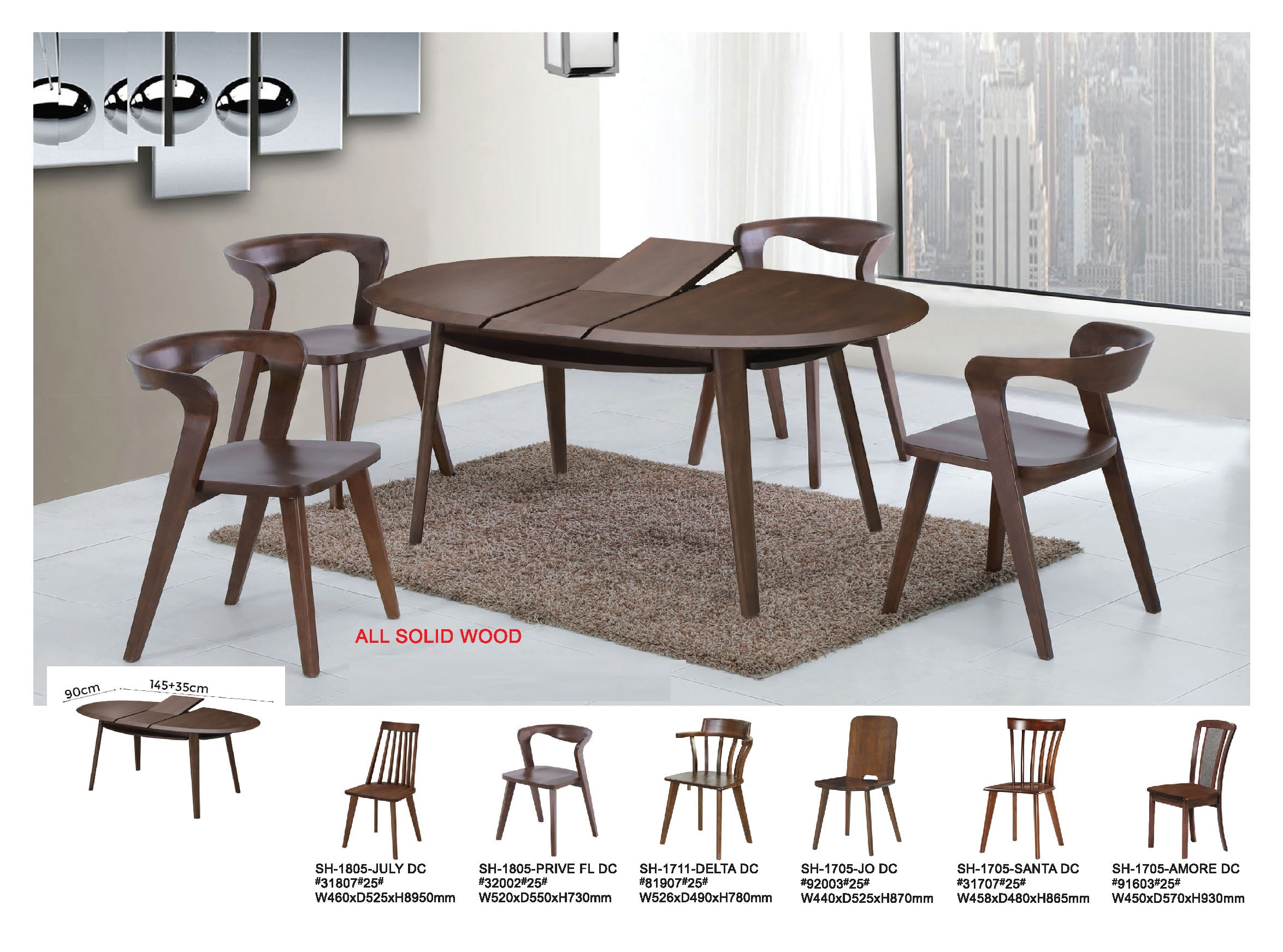 Arc Solid Wood Extension Dining Table Set