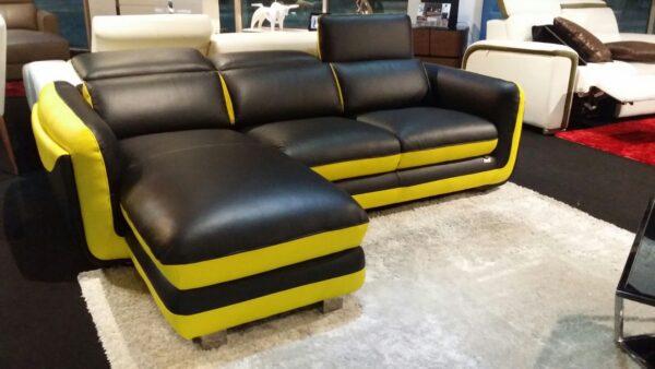 Boreas II L Shape Half Leather Sofa