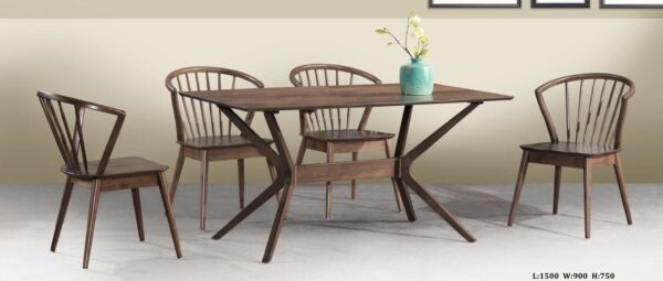 Cara Solid Rubber Wood Dining Table Set
