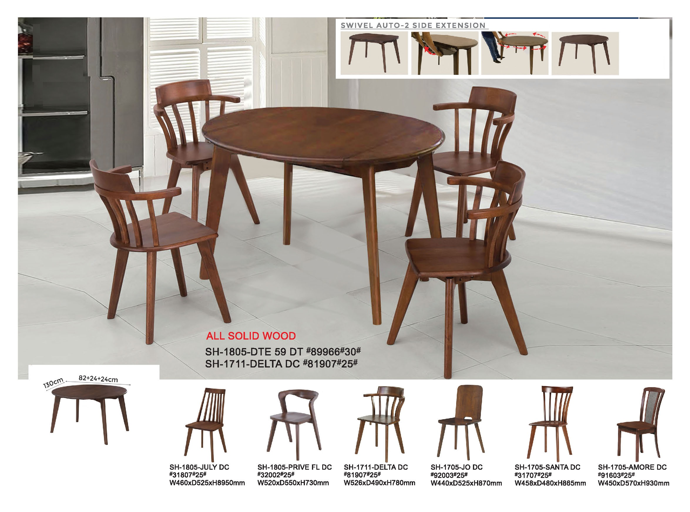 Coal Solid Wood Extendable Dining Table Set