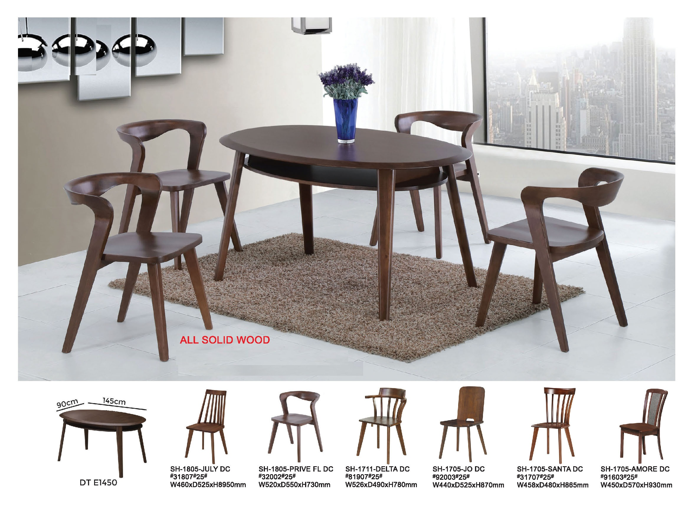 Deck Solid Wood Dining Table Set