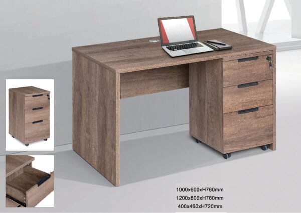 Dun Study Table with Drawers