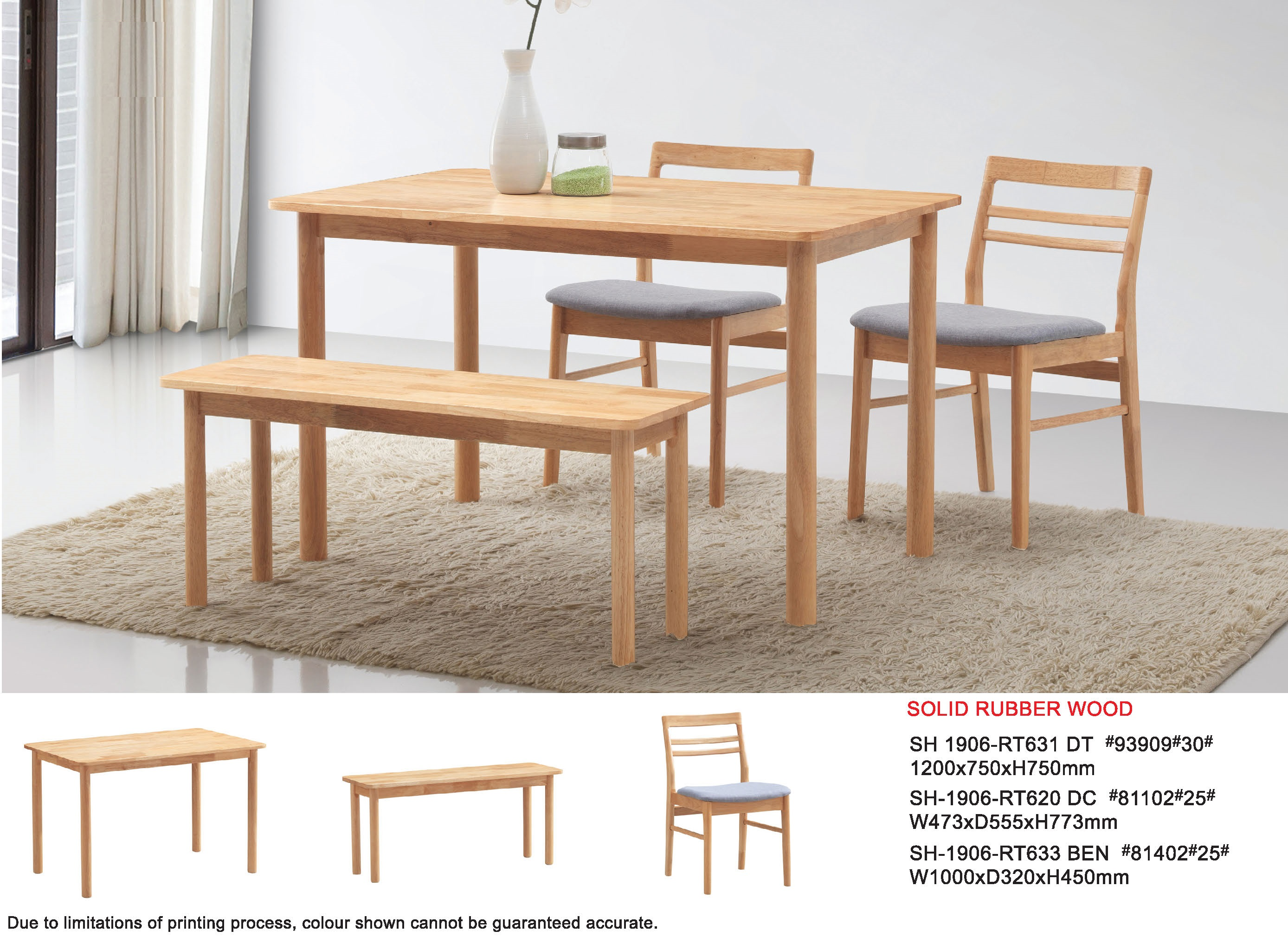 Eli Solid Rubber Wood Dining Table