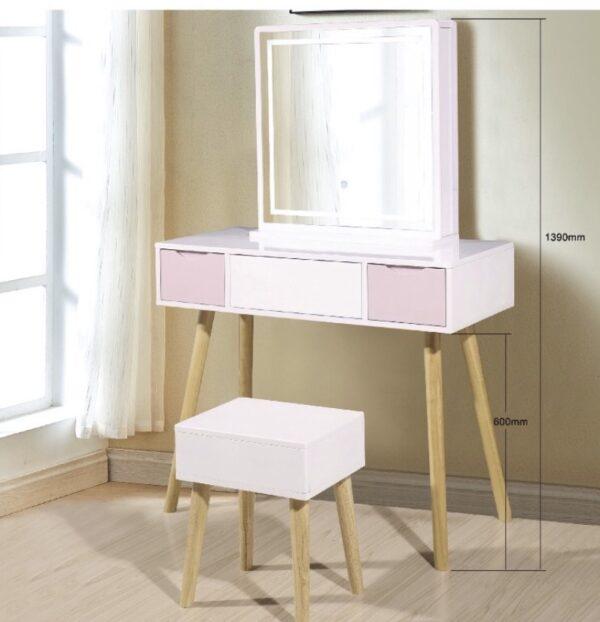 Fuscia Dresser with Stool and Storage