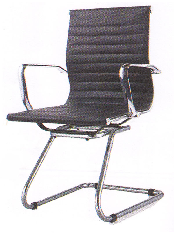 Geniune Leather Ripple Black Office Chair without Wheels