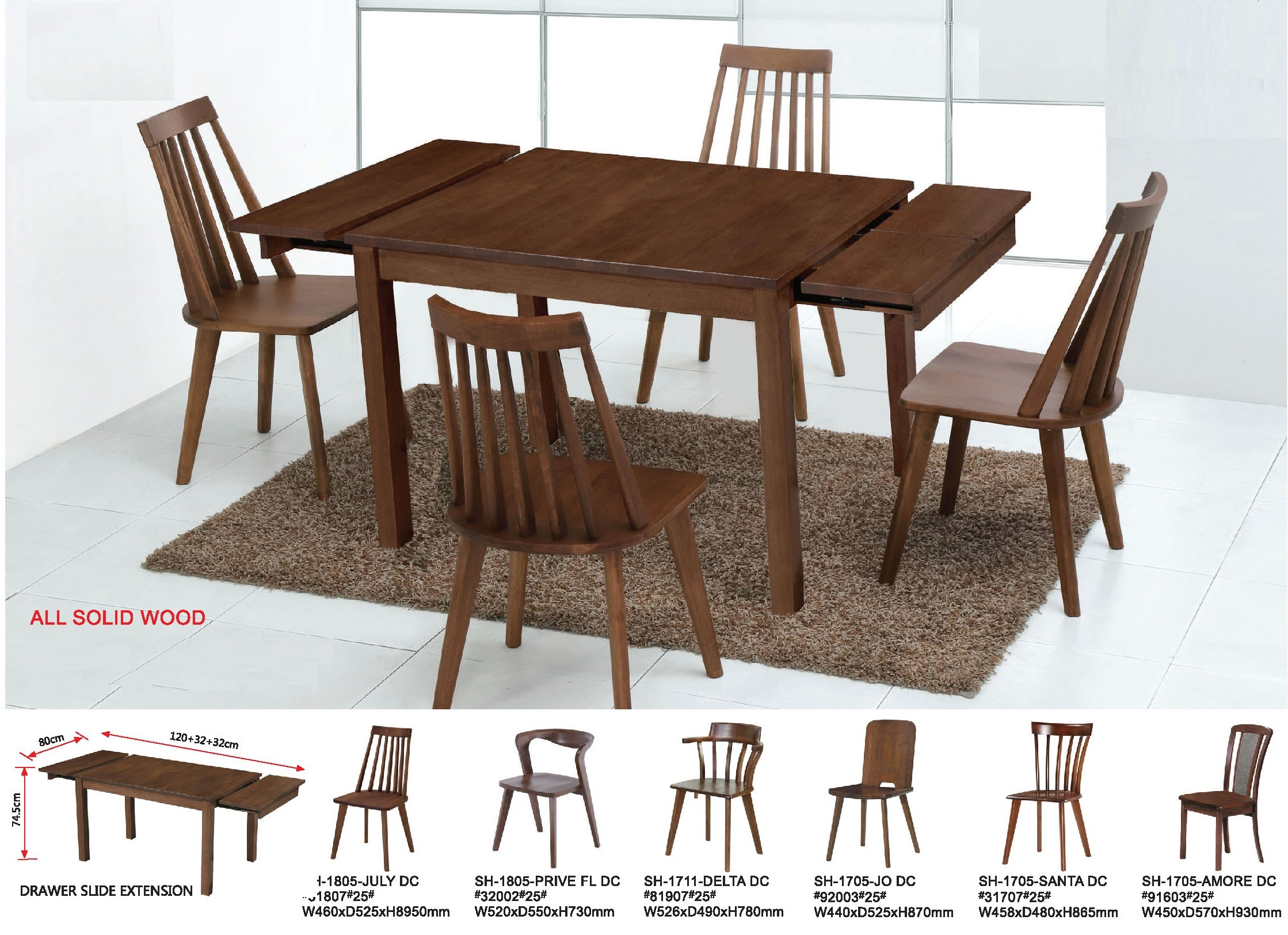 Groo Solid Wood Extension Dining Table Set