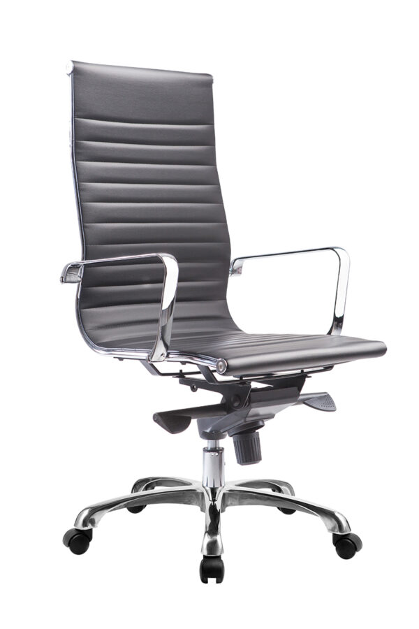 High Back Ripple Genuine Leather Black Ergonomic Office Chair 8801
