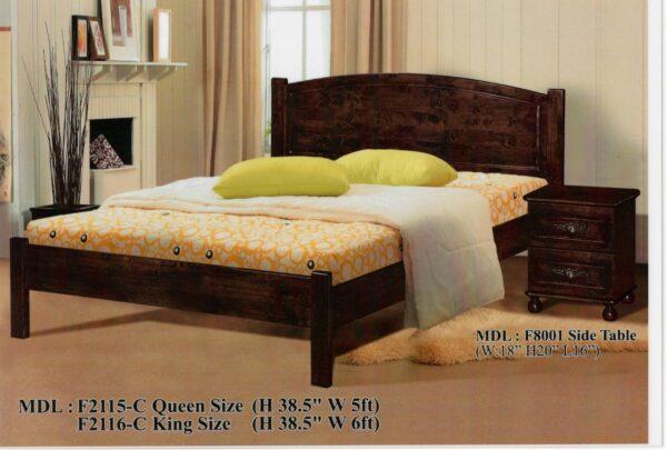 Kurvi Solid Rubber Wood Bed