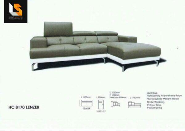 Lenzer L Shape Half Leather Sofa