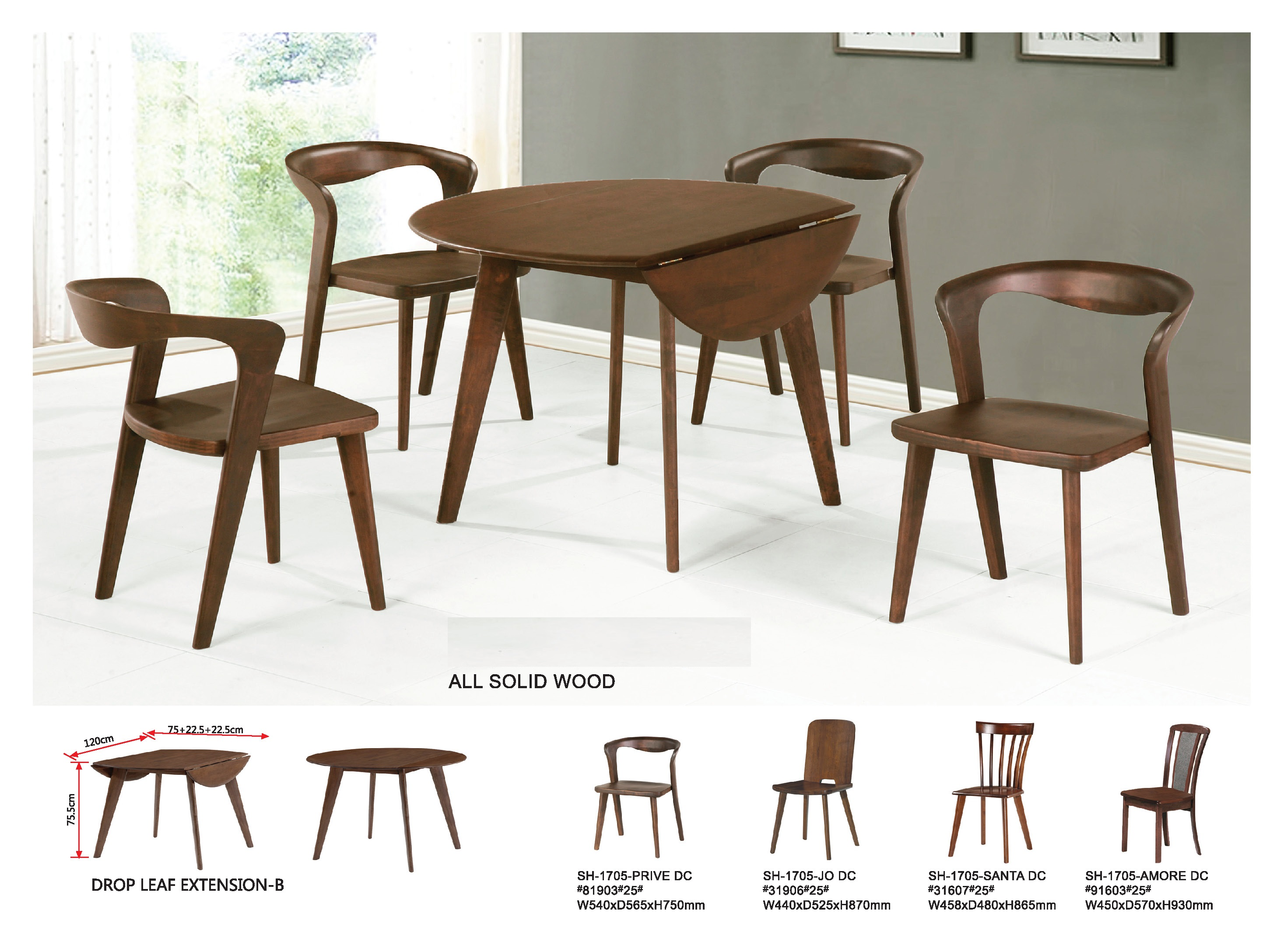 Maple Solid Wood Extension Dining Table Set