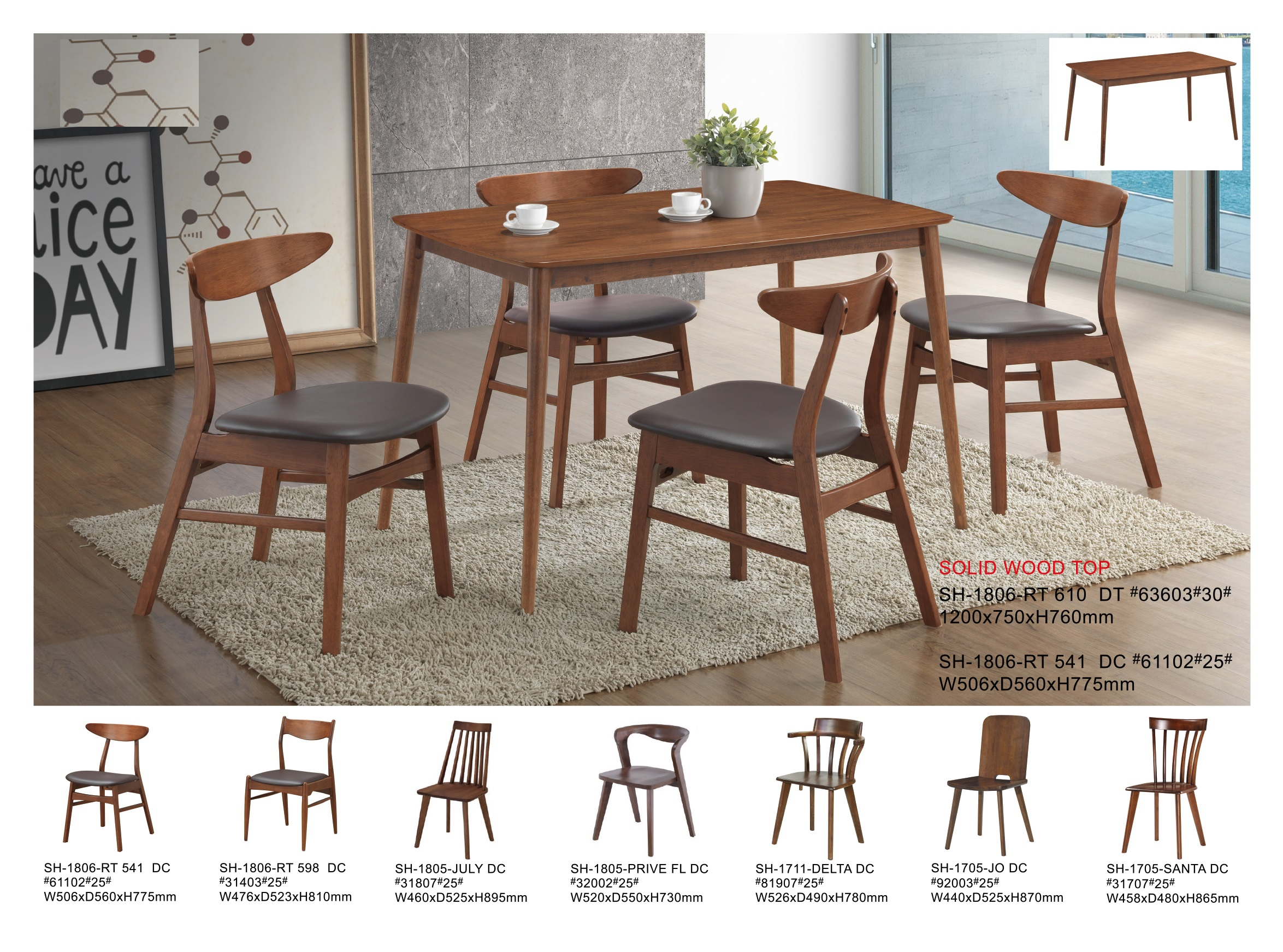 Monroe Solid Wood Dining Table Set