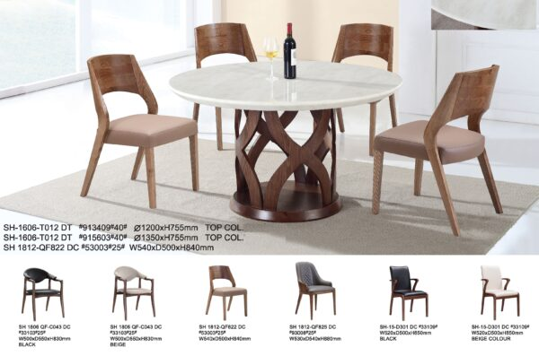 Namu Marble with Wood Dining Table Set