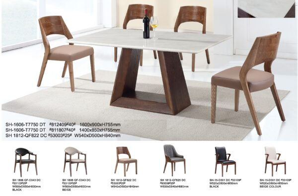 Nuevo 1+4 Marble Wooden Dining Table Set