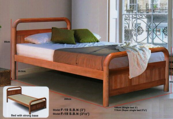 Peni Solid Rubber Wood Bed