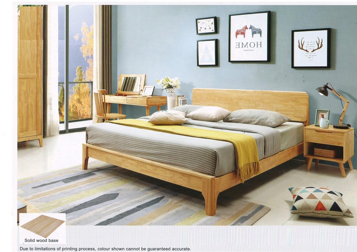 Tammi Solid Rubber Wood Bed Frame - Living Solution Pte Ltd