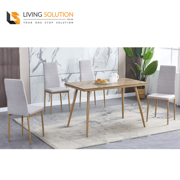 Vici 1+4 Tempered Glass Dining Table Set