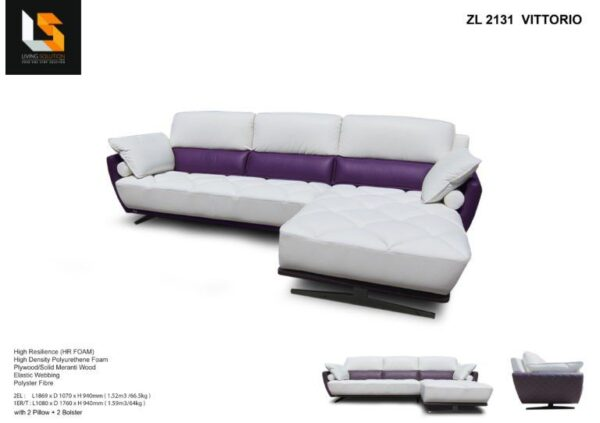 Vittorio High Back Chesterfield Leather Sofa