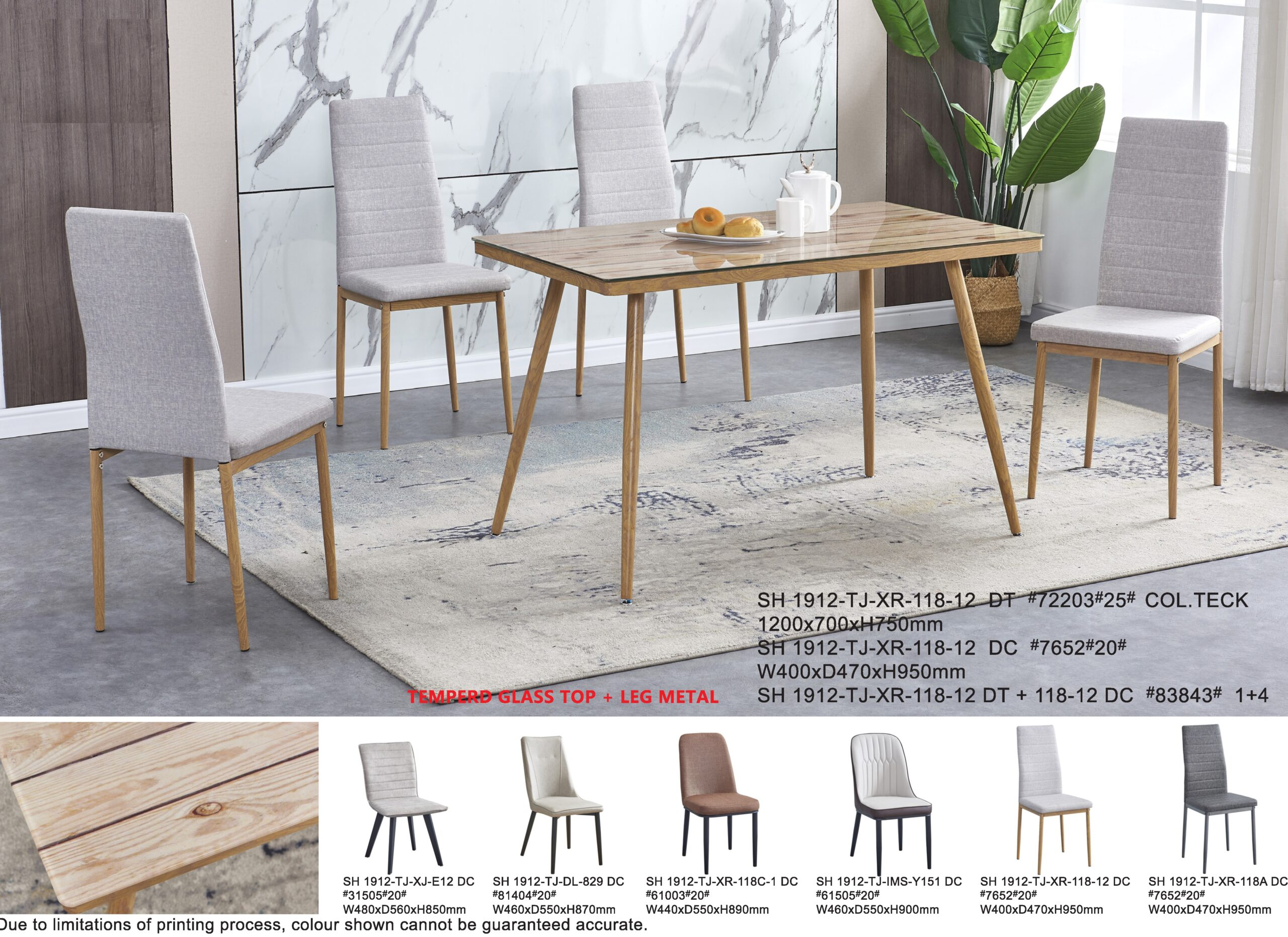 Zuli 1+4 Tempered Glass Dining Table Set
