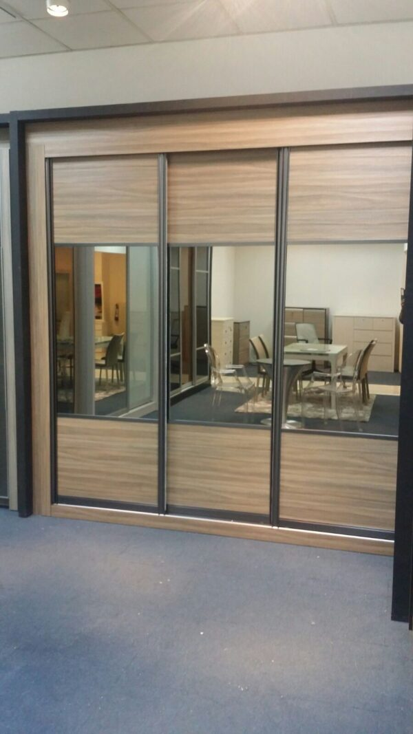 Customised Light Brown Mirror Sliding Wardrobe