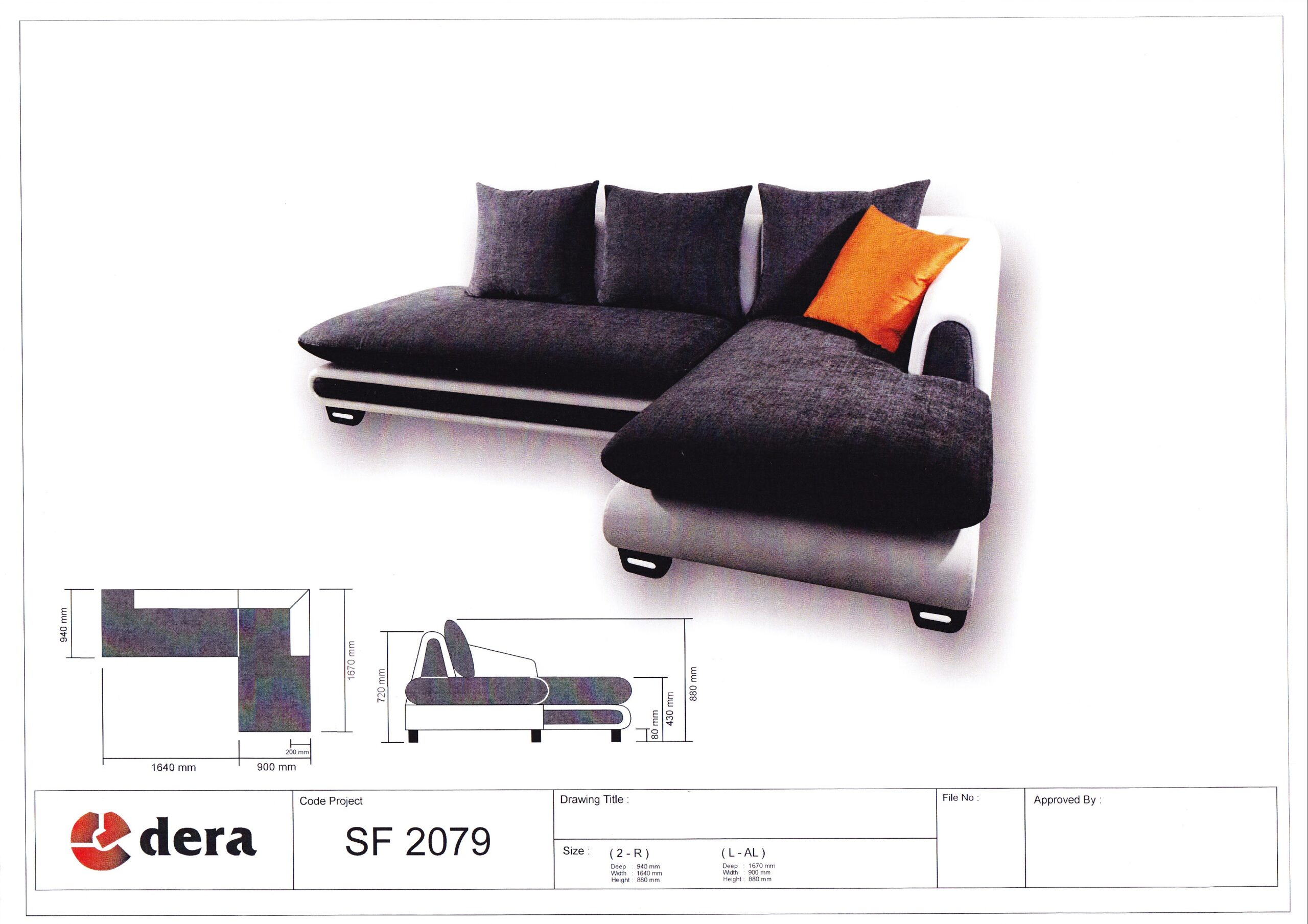 Norway L Shape Fabric Sofa Solid Nyatoh Wood Structure