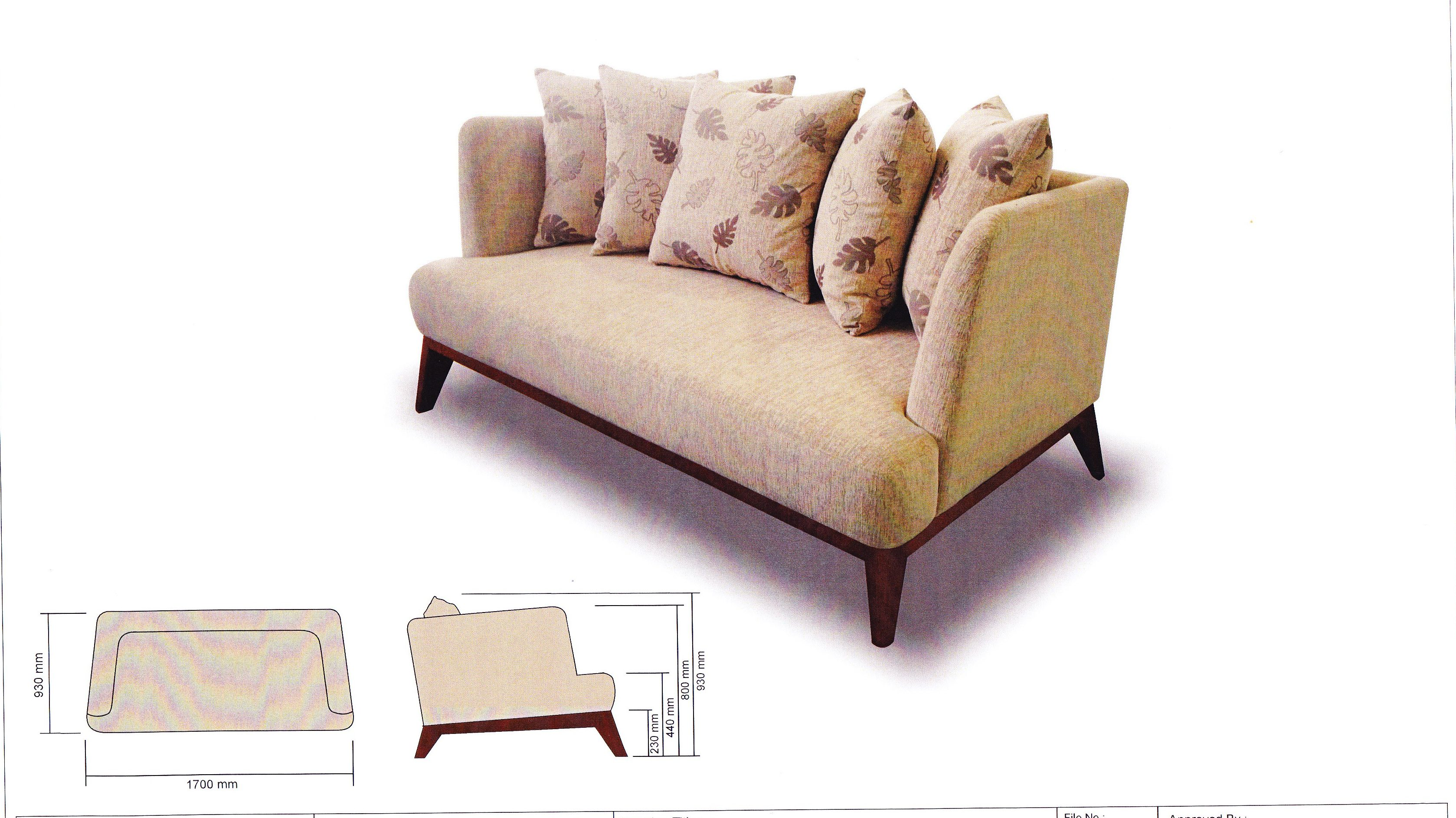Flora Fabric Sofa with Solid Nyatoh Wood Structure