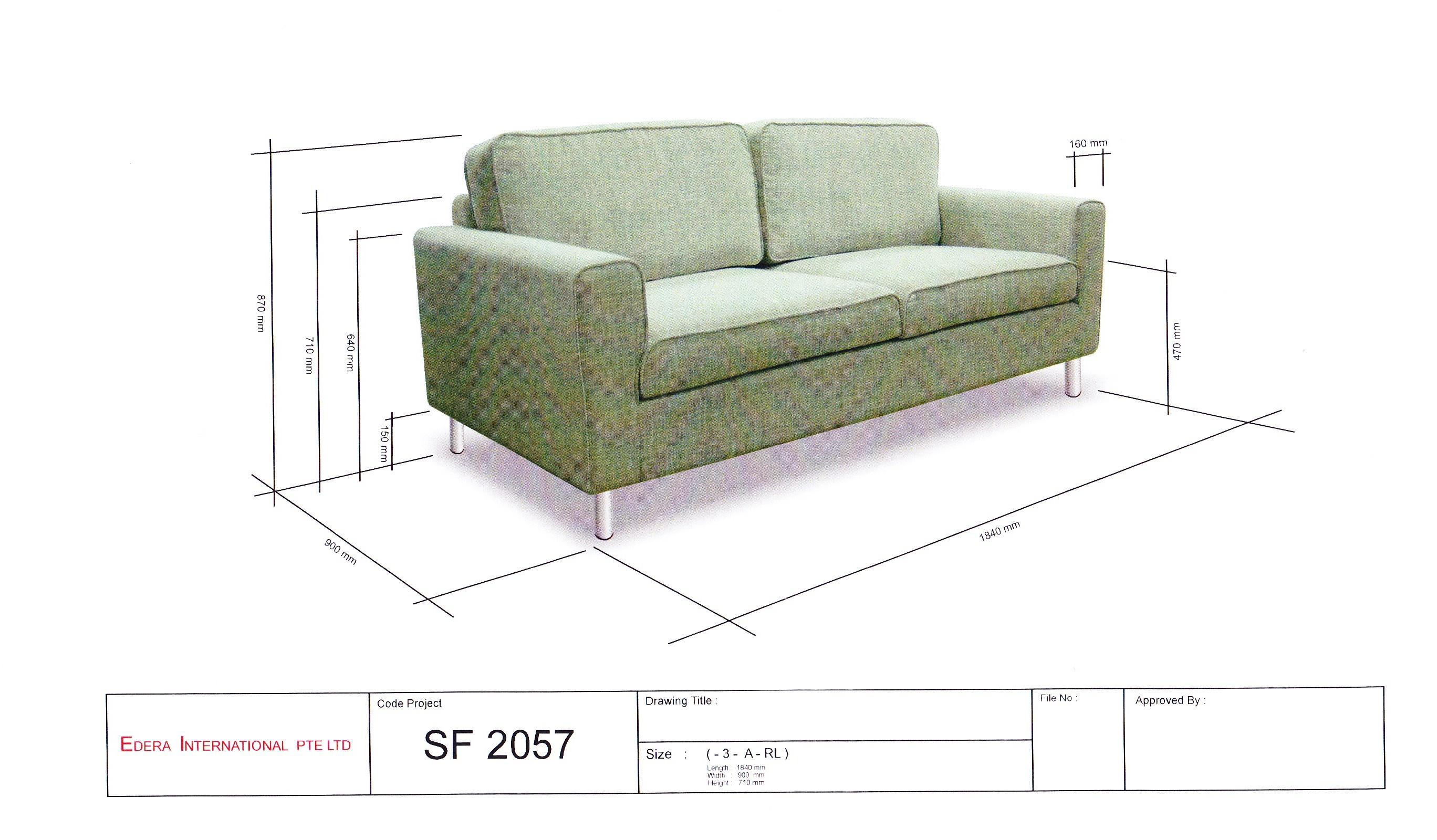 Bonia 3 Seater Fabric Sofa