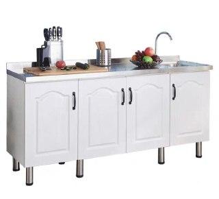 Hij Stainless Steel Top Wooden Kitchen Cabinet