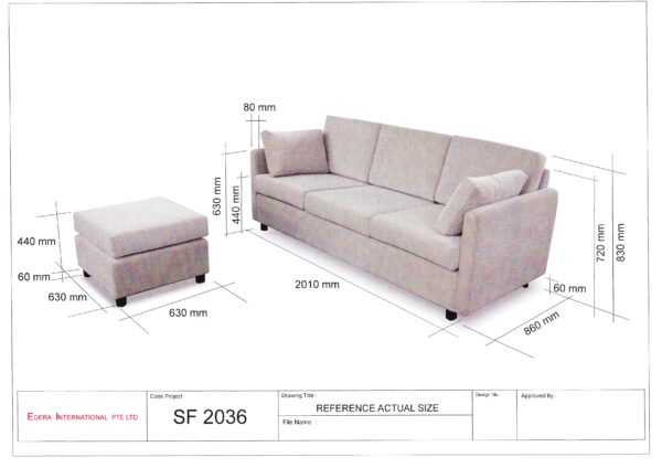 Mickey Fabric Sofa with Ottoman Solid Nyatoh Wood Structure