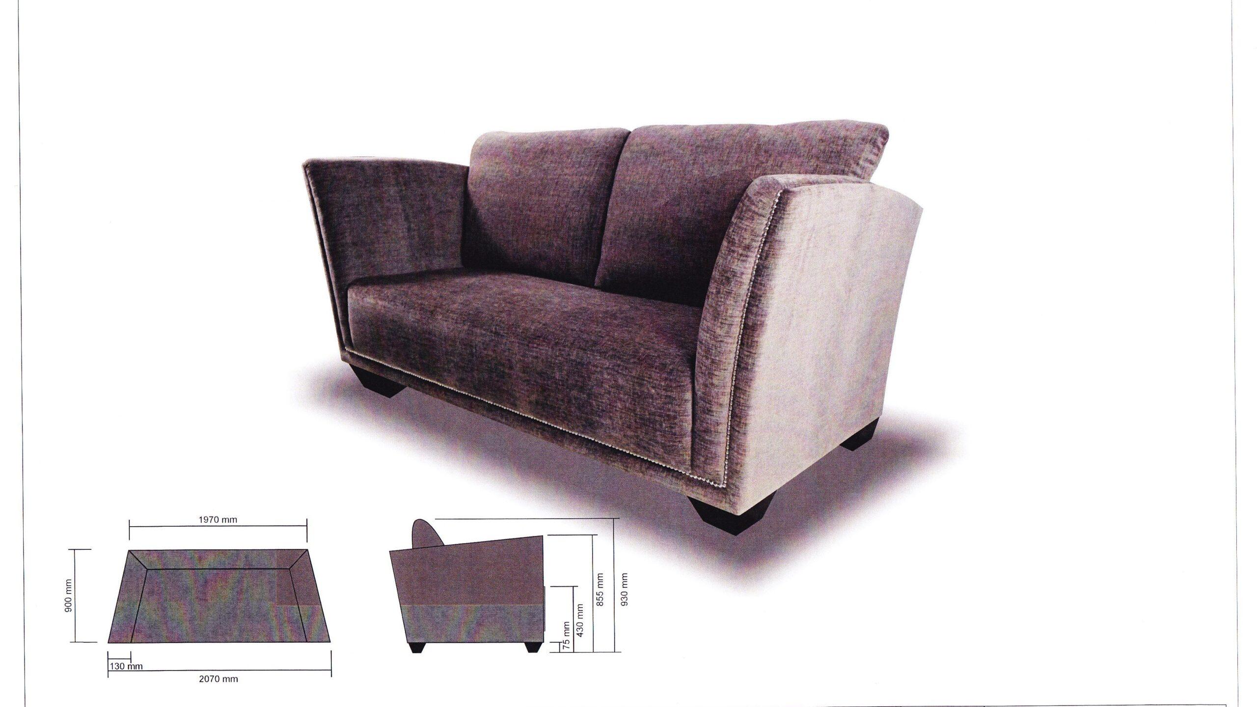 Norton Fabric Sofa Solid Nyatoh Wood Structure