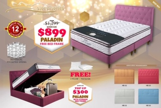 Paladin Bed Frame with Individual Pocket Spring Mattress Package