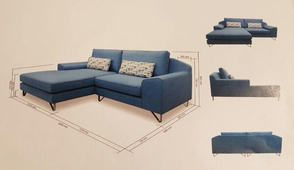 Moness L Shape Fabric Sofa