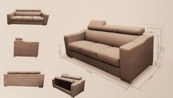 Tif 3 Seater Fabric with Storage Sofa