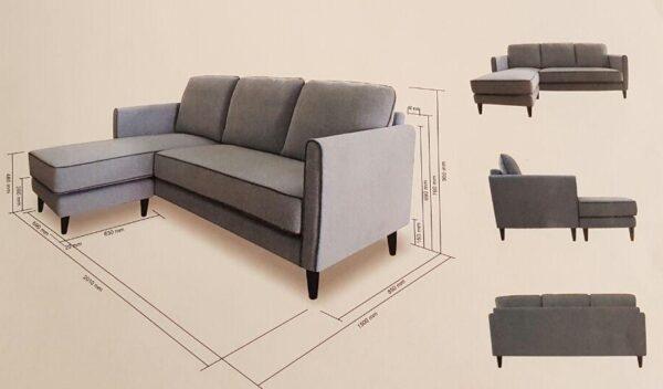 Sora L Shape Fabric Sofa