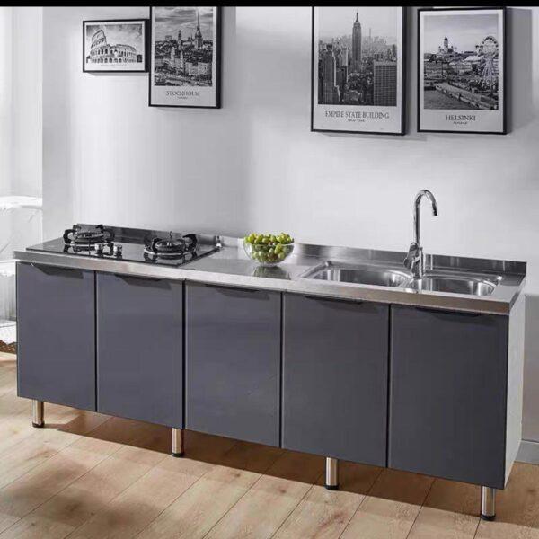 Tempered Glass Door Stainless Steel Top Wooden Kitchen Cabinet