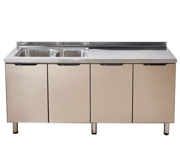 Tempered Glass Door Stainless Steel Top Kitchen Cabinet