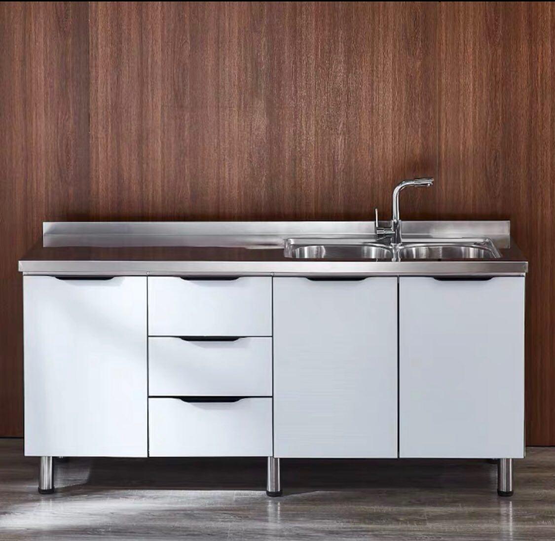 160cm Double Sink Tempered Glass Door Stainless Steel Top ...