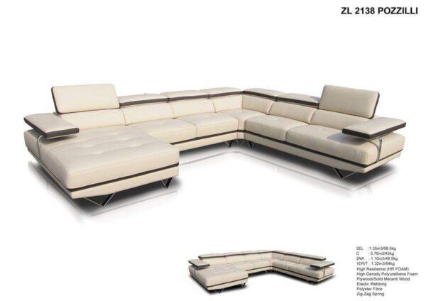 Pozzilli Corner Leather Sofa