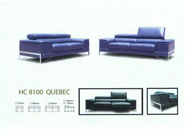 Quebec 3 Seater Half Leather Sofa