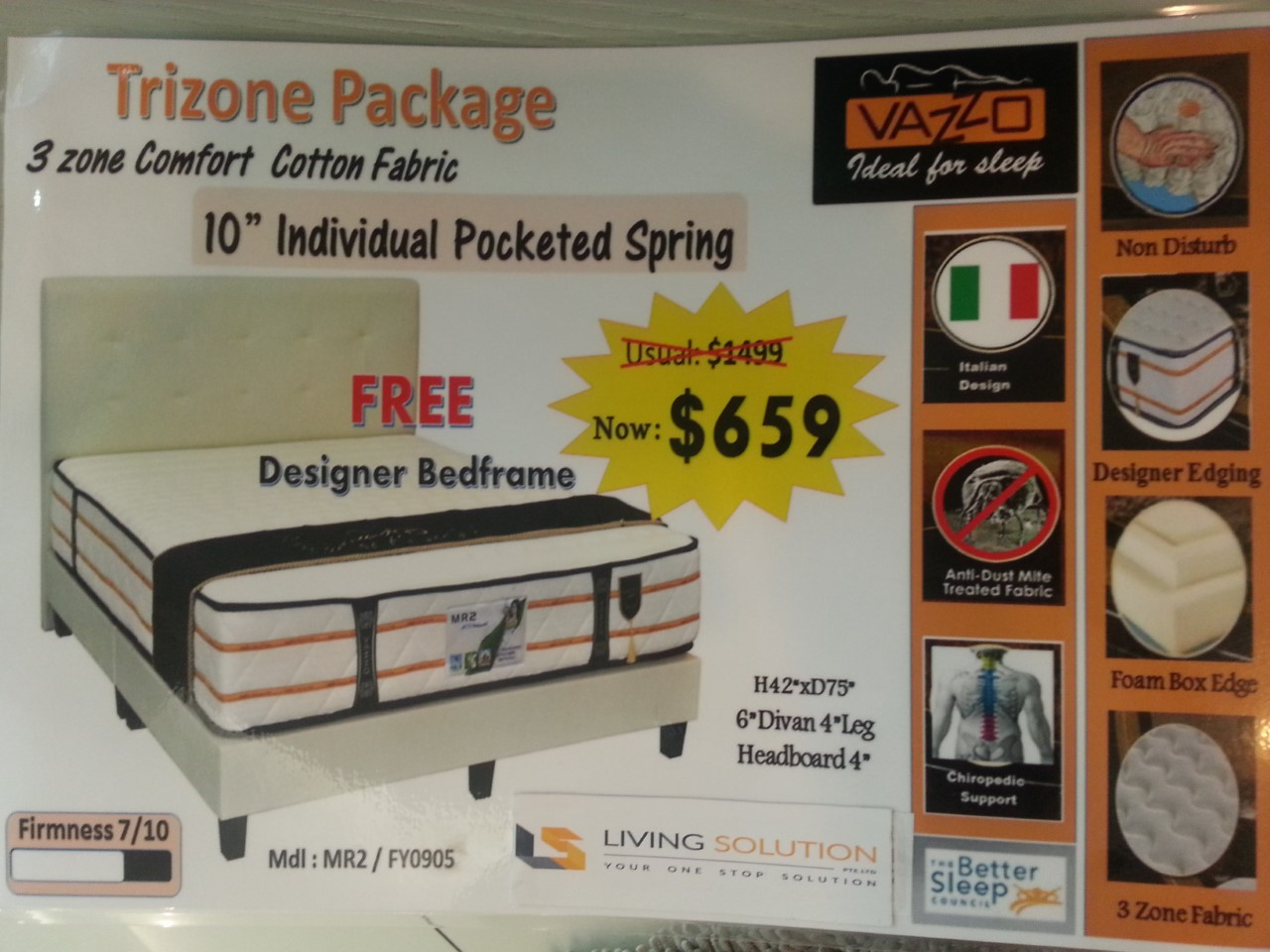 Trizone Bed Frame with Spring Mattress Package