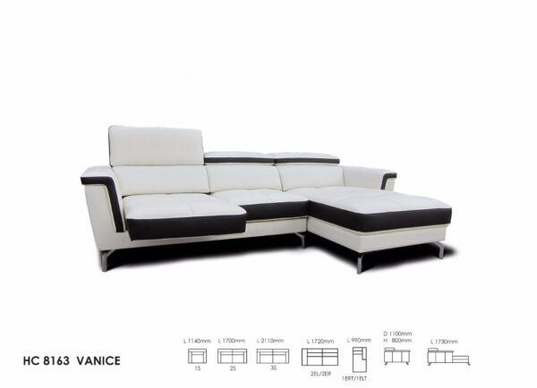Vanice L-Shape Mastrotto Italian Half Leather Slider Sofa