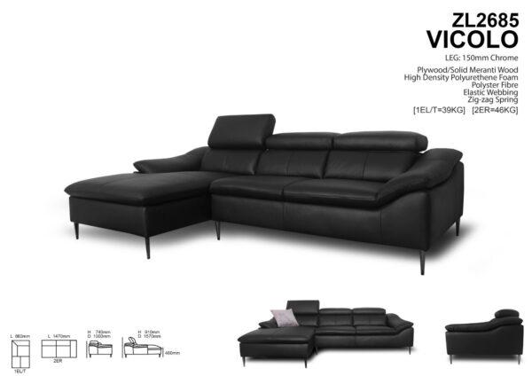 Vicolo L Chaise Leather Sofa