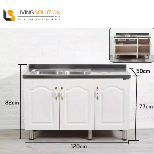 120cm Stainless Steel Top Wooden Kitchen Cabinet Double Sink
