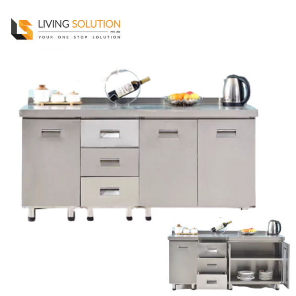 160cm Stainless Steel Kitchen Cabinet with 3 Drawers