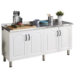 Stainless Steel Top Wooden Kitchen Cabinet