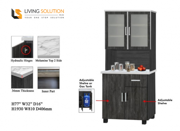 Melamine Top Kitchen Cabinet with Top