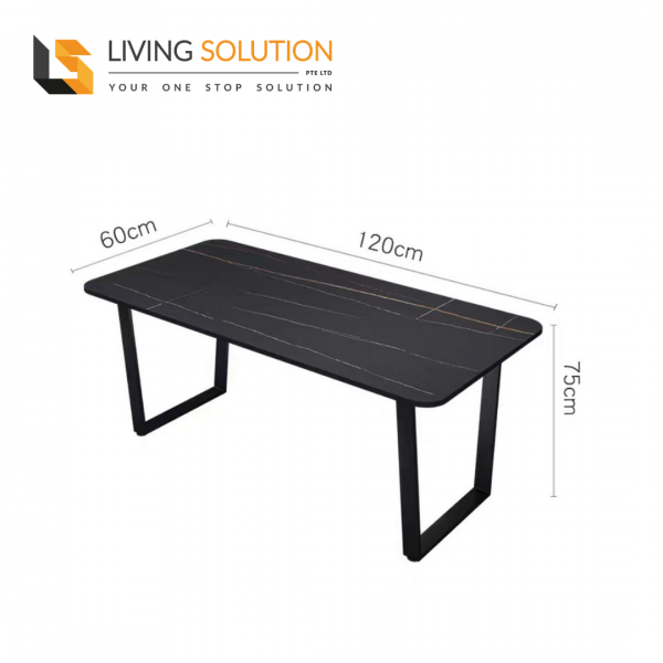 120cm Sintered Stone Dining Table Black