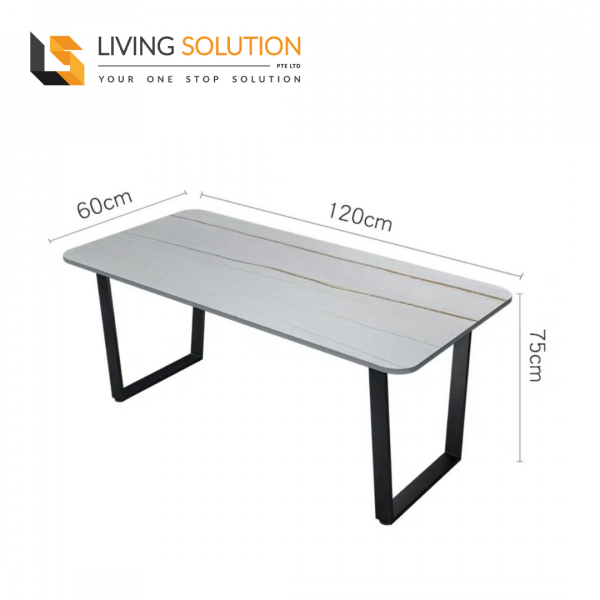 120cm Sintered Stone Dining Table White